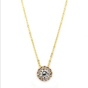 Fashion gold white crystal necklace